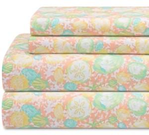 Elite Home Coastal Print 4-Pc. King Sheet Set Bedding