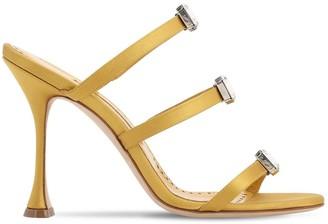Manolo Blahnik 105mm Nudosa Satin Mule Sandals