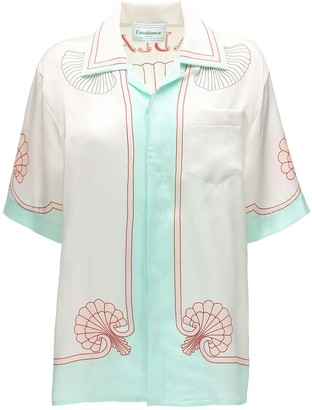 Casablanca Les Coquillages Printed Silk Satin Shirt