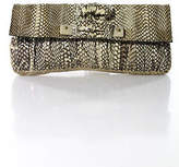 R & Y Augousti R&Y Augousti Brown Python Stingray Snap Close Clutch Handbag