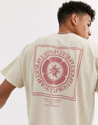 New Look impulse front and back print t-shirt in stone