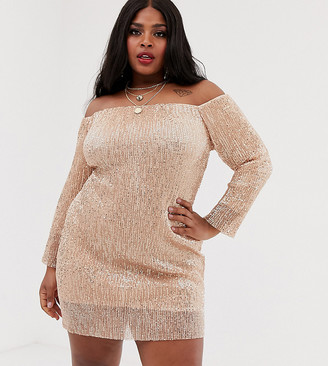 Club L London Plus off shoulder long sleeve sequin mini dress in rose gold