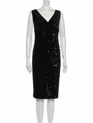 Akris Punto V-Neck Knee-Length Dress Black
