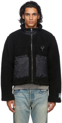 Reese Cooper Black Sherpa Zip-Up Sweater