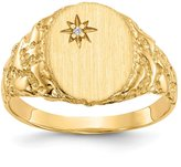 jewelryPot 14k Yellow Gold Engravable Diamond men's Signet Ring 0.004ct. 12mm x 9.1mm (Color , Clarity SI2-I1)
