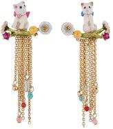 Les Nereides LITTLE CATS SEATED ON FLOWERED BRANCH LONG EARRINGS - White - O/S