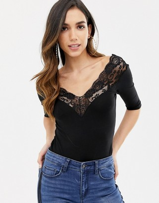 Bardot ASOS DESIGN body with off shoulder lace trim