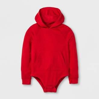 Cat & Jack Boys' Adaptive Long Sleeve Hooded Bodysuit Red