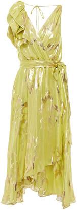 Temperley London Eda Wrap-effect Silk And Lurex-blend Jacquard Midi Dress