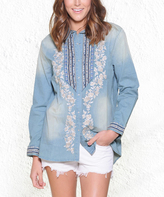 Paparazzi Blue Chambray Floral Embroidered Long-Sleeve Snap Button-Up
