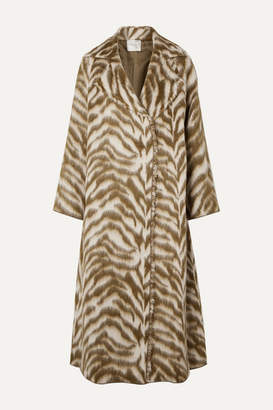 Forte Forte Oversized Zebra-print Wool-blend Faux Fur Coat - Cream