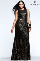 Faviana 9357 Plus size sequin prom dress with mesh v-neck and illusion cut-outs