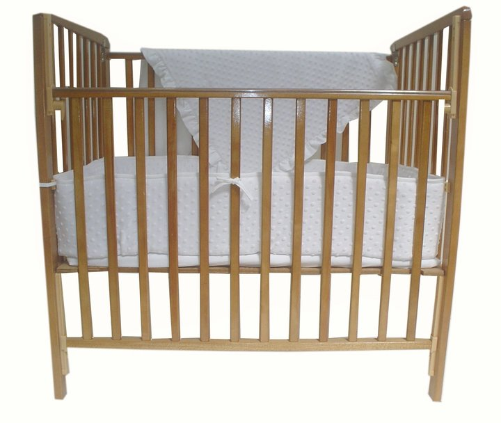 American Baby Company Heavenly Heavenly Soft 3 pc Minky Dot Mini Crib Set - White