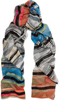 Missoni Mare Striped Crochet-knit Scarf - Beige
