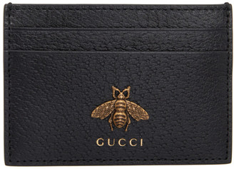 Gucci Black Leather Bee Card Holder