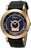 Salvatore Ferragamo Women's FQ4190014 Minuetto Diamond-Accented Gold Ion-Plated Watch with Black Saffiano Leather Band