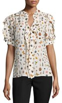 Alexander McQueen Obsession-Print Ruffled Short-Sleeve Blouse, Ivory/Mix