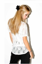 Sauce Soba Drape Lace Top in White
