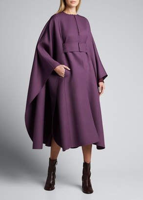 Valentino Double-Wool Long Belted Cape Coat