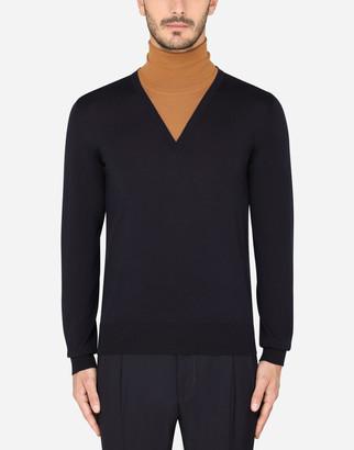 Dolce & Gabbana Two-Tone Wool Turtle-Neck Sweater