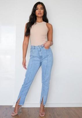 Missguided Blue Wrath Straight Leg Split Hem Jeans