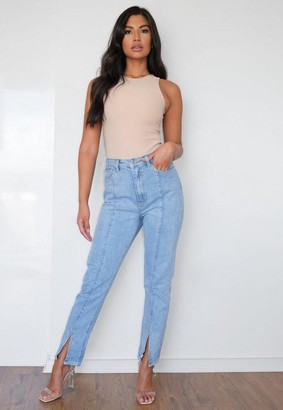 Missguided Light Blue Wrath Straight Leg Split Hem Jeans