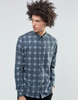 Weekday Frayed Check Shirt Blue