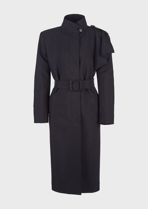 Giorgio Armani Trench Coat With Ruffle On The Shoulder