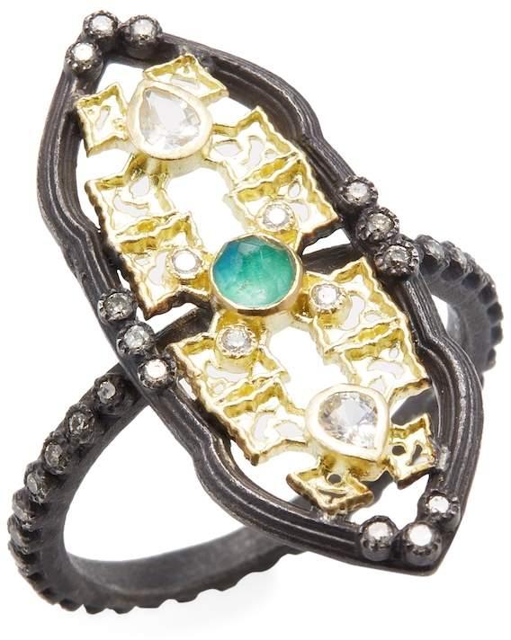 Armenta Women's Old World 18K Gold, Malachite, Moonstone & 0.20 Total Ct. Diamond Petite Scalloped Shield Stack Ring