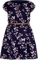 Yumi Curves Butterfly Print Belt Dress