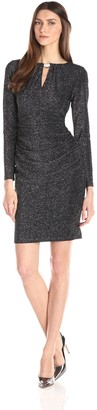 Marina Women's Metallic Knit Dress with Center Front and Back Keyhole Hardware with Shirring at Sides