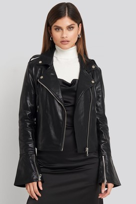 NA-KD Long Sleeve PU Biker Jacket Black