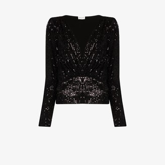 Saint Laurent V-neck sequin blouse