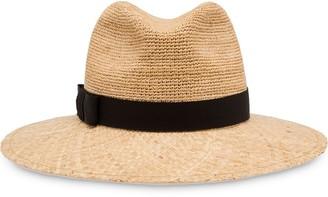 Prada Ribbon-Detail Straw Hat
