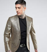 Noose & Monkey Super Skinny Blazer In Gold