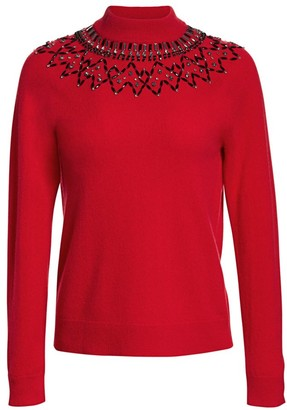 Saks Fifth Avenue Mock-Neck Embellished Cashmere Sweater