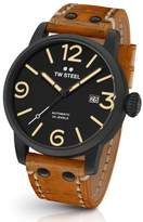 TW Steel Men's Maverick Automatic Leather Strap Watch, 48Mm