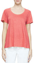 Eileen Fisher Short-Sleeve U-Neck Organic Linen Tee, Plus Size
