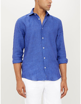 Frescobol Carioca Relaxed-fit long-sleeved collared linen shirt