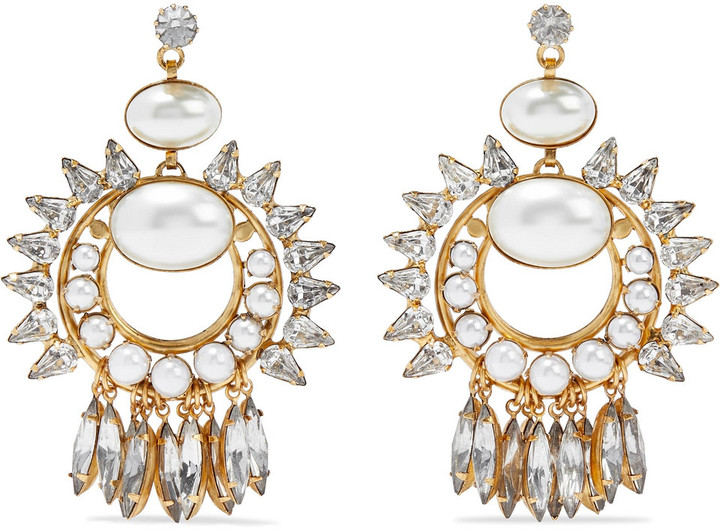 Elizabeth Cole Simcha 24-karat Gold-plated, Faux Pearl And Swarovski Crystal Earrings