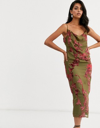 Hope & Ivy cowl cami strap maxi dress with thigh split and button back in floral velvet devore-Green