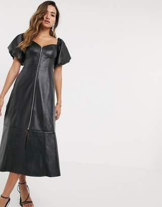 Asos Design DESIGN leather look off shoulder zip through midi dress-Black