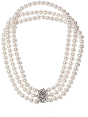18kt white gold Classic Akoya pearl and diamond choker necklace