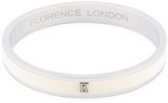 Florence London Initial K Bangle Silver Trim With White Enamel