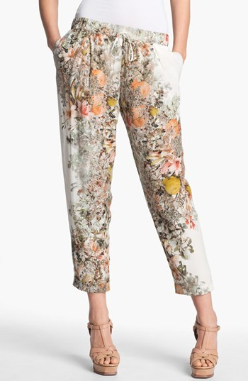Haute Hippie Pleated Floral Print Silk Pants Womens Swan Multi Size Medium Medium