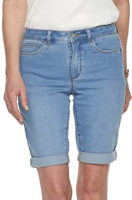 Croft & Barrow Women's Cuffed Denim Bermuda Shorts