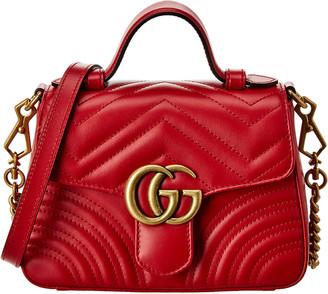 Gucci Gg Marmont Mini Top Handle Matelasse Leather Shoulder Bag
