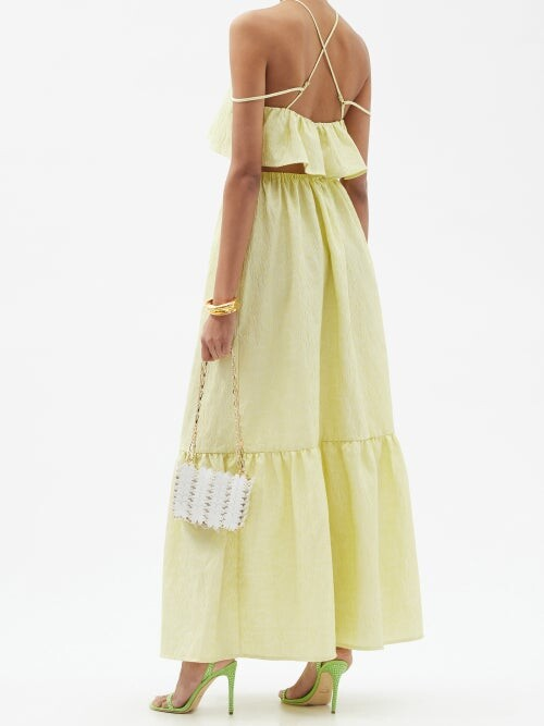 Thumbnail for your product : Self-Portrait Leaf-jacquard Tiered Cloque Dress - Yellow
