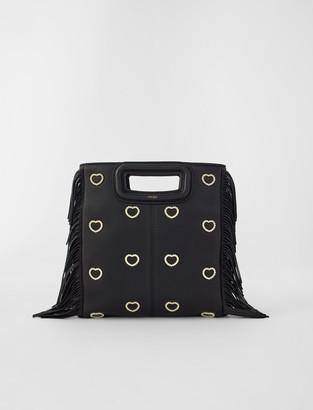 Maje Leather M bag with rhinestone heart
