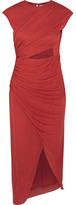 Halston Cutout Ruched Stretch-jersey Dress - Red